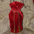 "Reusable Velvet Wine Gift Bag - Red with Gold tassel 6"" x 14"""