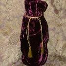 """Reusable Velvet Wine Gift Bag - Burgundy with Gold tassel 6"""" x 14"""""""