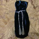 "Reusable Velvet Wine Gift Bag - Corded Blue with Silver tassel 6"" x 14"""