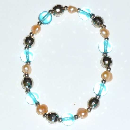 Freshwater Pearl Pink, Turquoise Crystal, Round Silver-tone Beads Stretch Bracelet