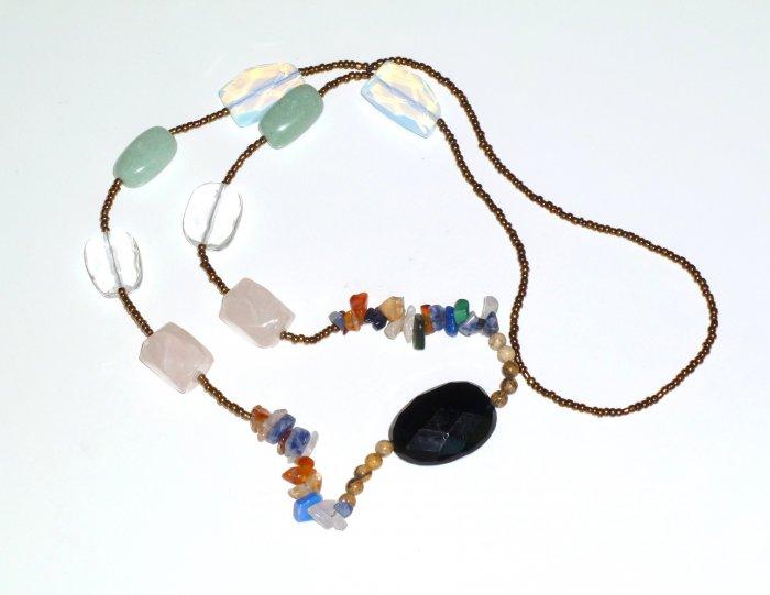 Black Bohemian Style Gemstone Necklace