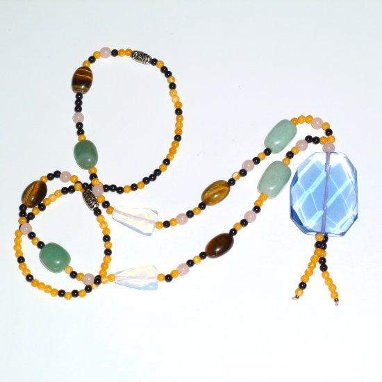 Blue Bohemian Style Gemstone Necklace