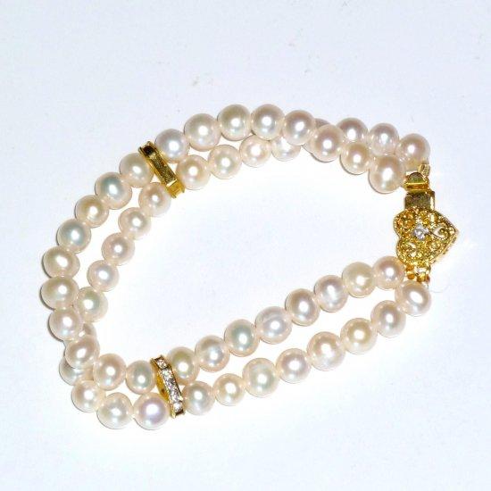 White Freshwater Pearl Double Strand Bracelet Heart Rhinestone Clasp