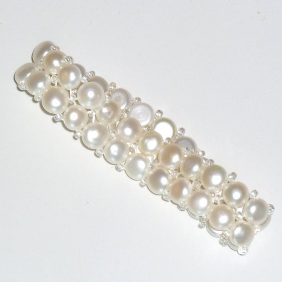 White Freshwater Button Pearl Double Strand Stretch Bracelet