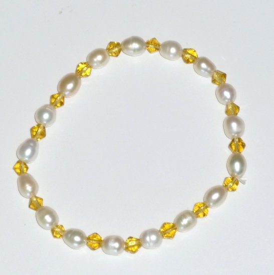 Freshwater Oval Baroque White Pearl & Gold Bicone Bead Stretch Bracelet