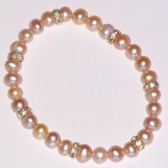 Pink Freshwater Pearl & Rhinestone Rondelle Bead Stretch Bracelet