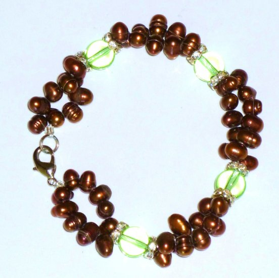 Chocolate & Peridot Freshwater Pearl Double Strand Bracelet Lobster Clasp