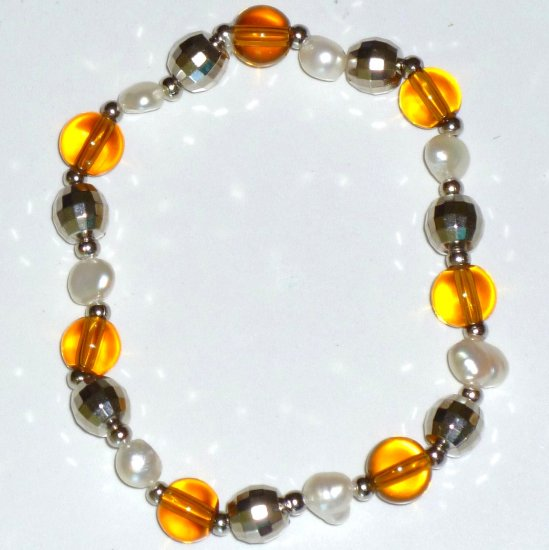 Freshwater White Pearl Bracelet, Amber Crystal & Round Silver-tone Beads Stretch Bracelet