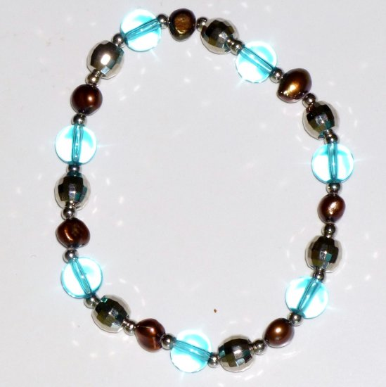 Freshwater Chocolate Pearl Bracelet, Turquoise Crystal & Silver-tone Bead Stretch Bracelet