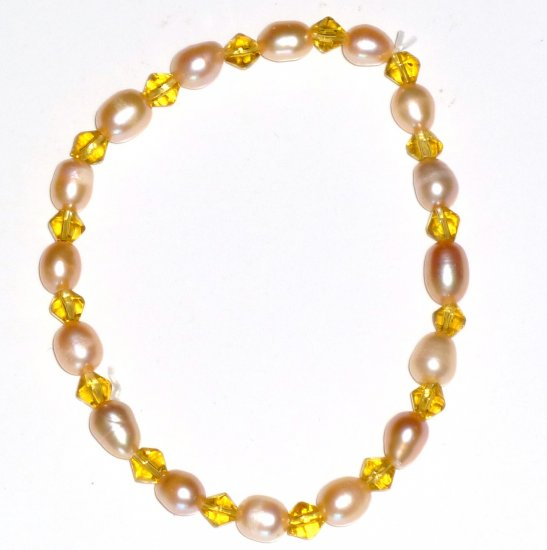 Freshwater Oval Baroque Pink Pearl & Gold Bicone Bead Stretch Bracelet