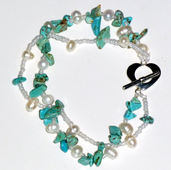 Turquoise & White Freshwater Pearl Double Strand Bracelet, Heart Toggle Clasp
