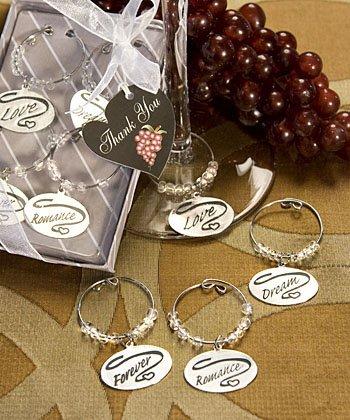 Bridal Shower, Wedding Favor, Romantic Wine Glass Charm Set Forever, Love, Romance, Dream