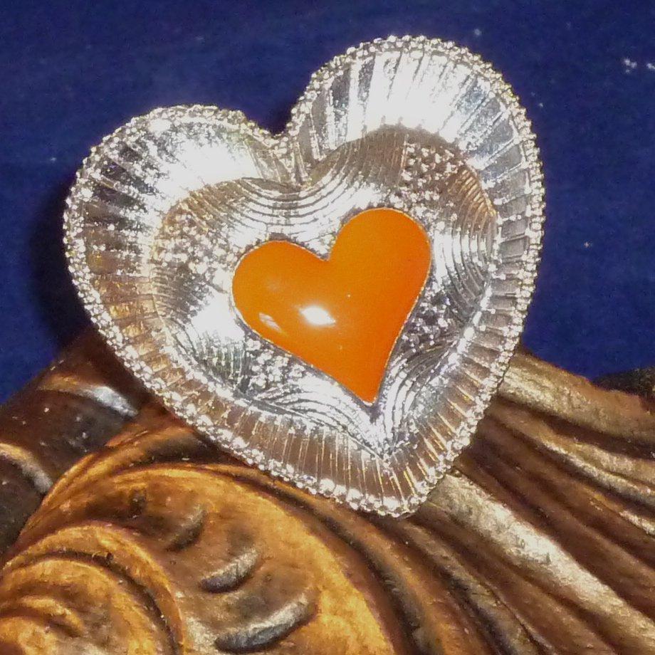 Large Detailed Enameled Heart Ring Adjustable - Pumpkin/ Orange