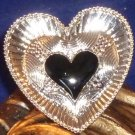 Large Detailed Enameled Heart Ring Adjustable - Black