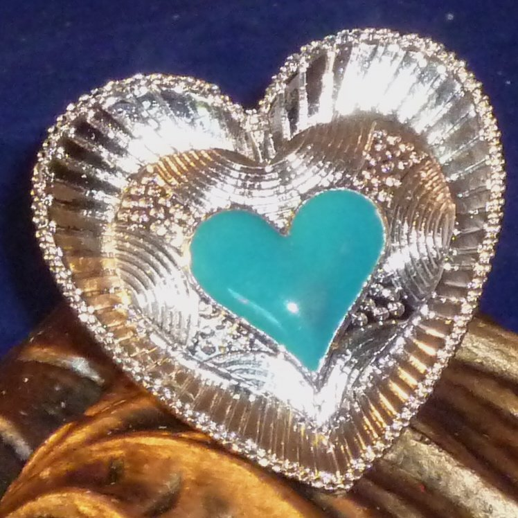 Large Detailed Enameled Heart Ring Adjustable - Jade