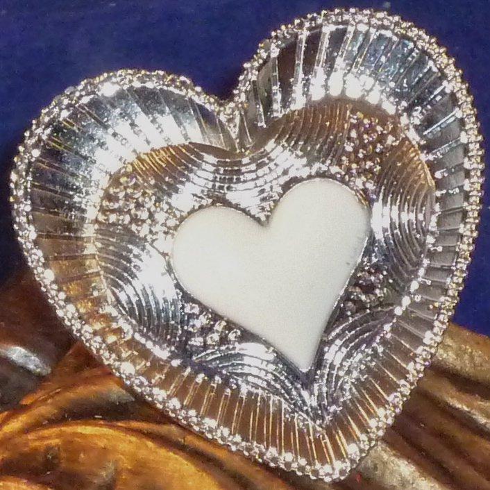 Large Detailed Enameled Heart Ring Adjustable - White