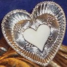Large Detailed Enameled Heart Ring Adjustable - White