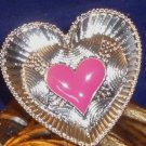 Large Detailed Enameled Heart Ring Adjustable - Fuchsia