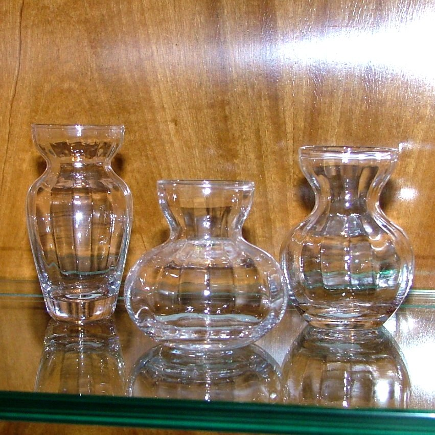 Trio of Fluted Glass Bud Vases
