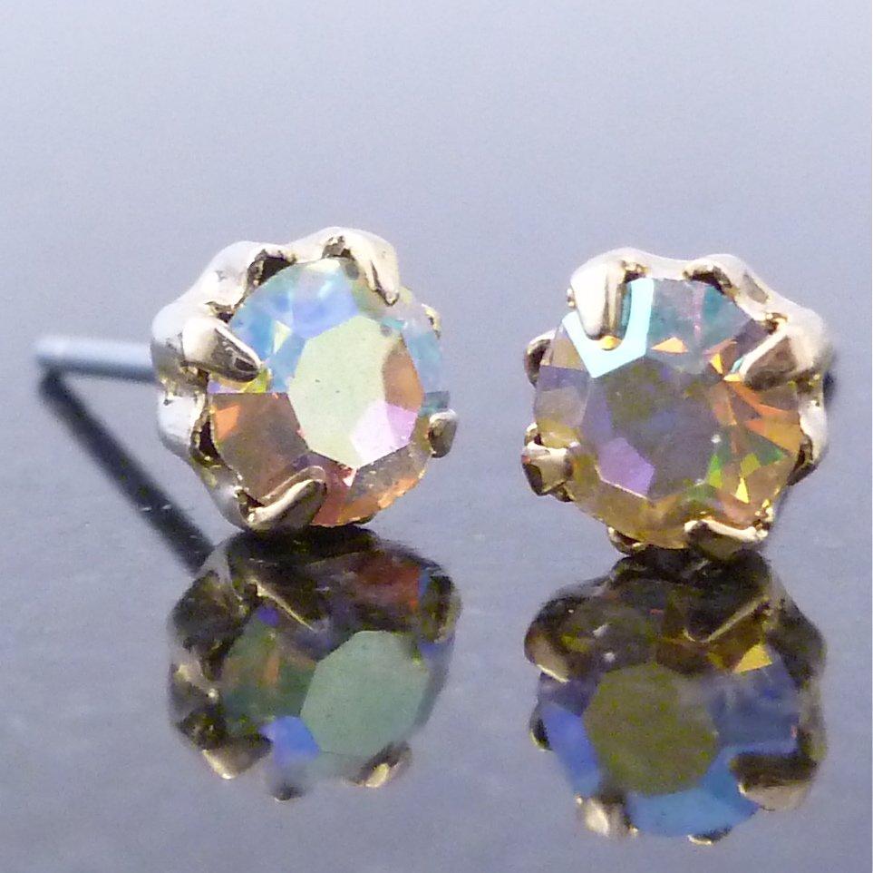 Austrian Aurora Borealis Crystal Round Stud Earrings 3.5mm