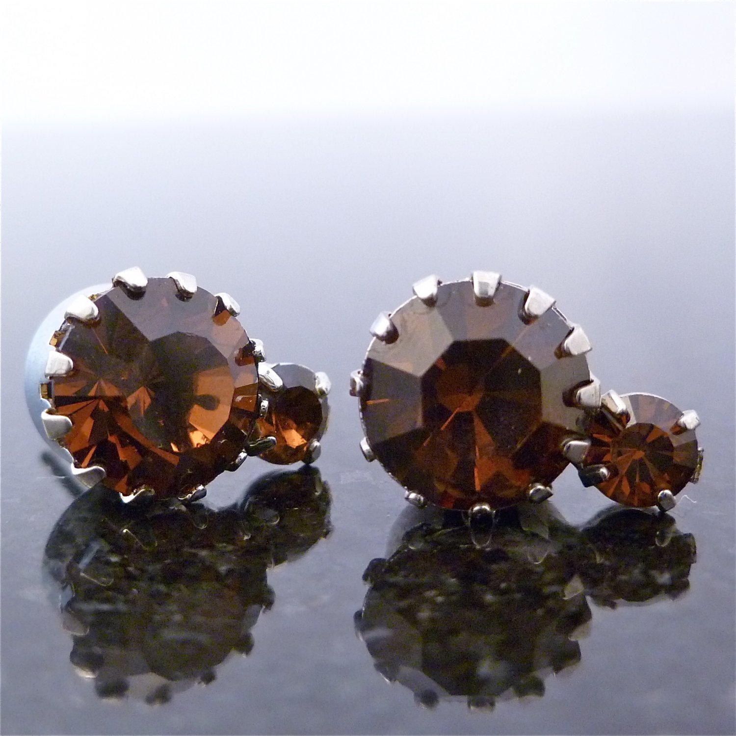 Smoked Topaz 2 Solitaire Austrian Crystal Stone Stud Earrings