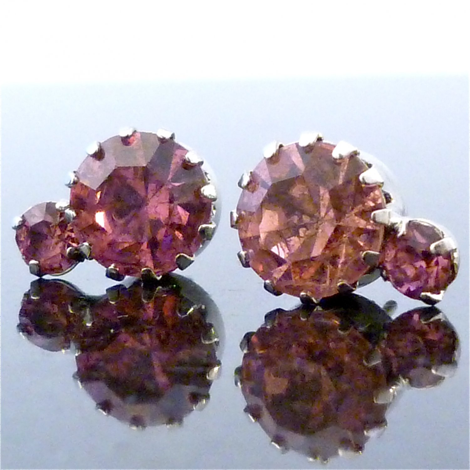Padparadscha 2 Solitaire Austrian Crystal Stone Stud Earrings