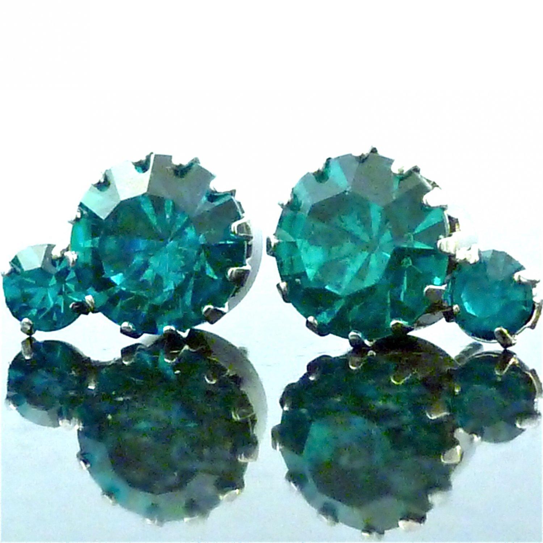 Blue Zircon 2 Solitaire Austrian Crystal Stone Stud Earrings