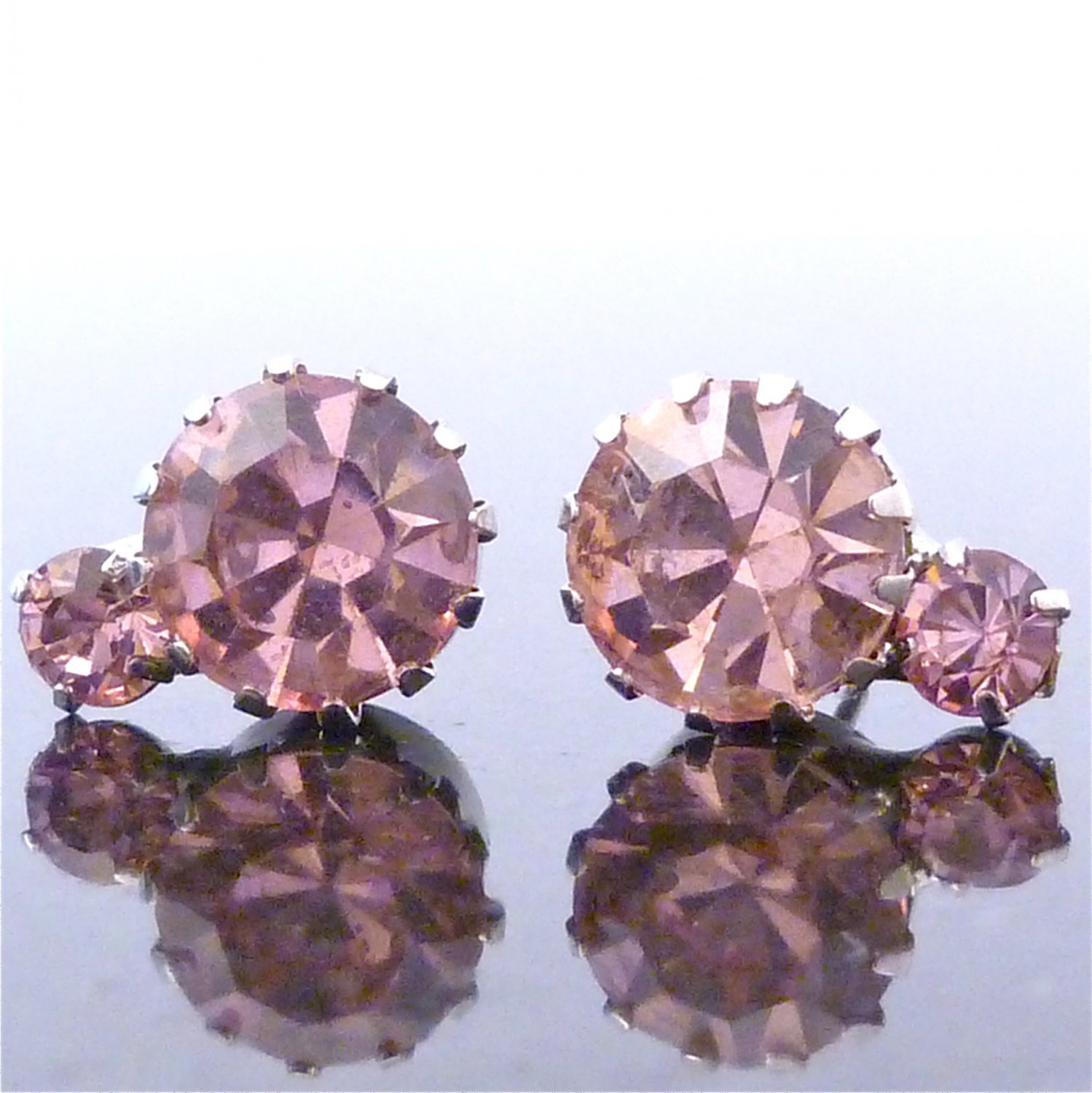 Light Peach 2 Solitaire Austrian Crystal Stone Stud Earrings