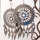 Oversized Silver-Tone Tucson Dream Catcher White Earrings by Kim Rogers