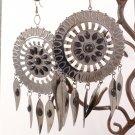 Oversized Silver-Tone Tucson Dream Catcher Black Earrings by Kim Rogers