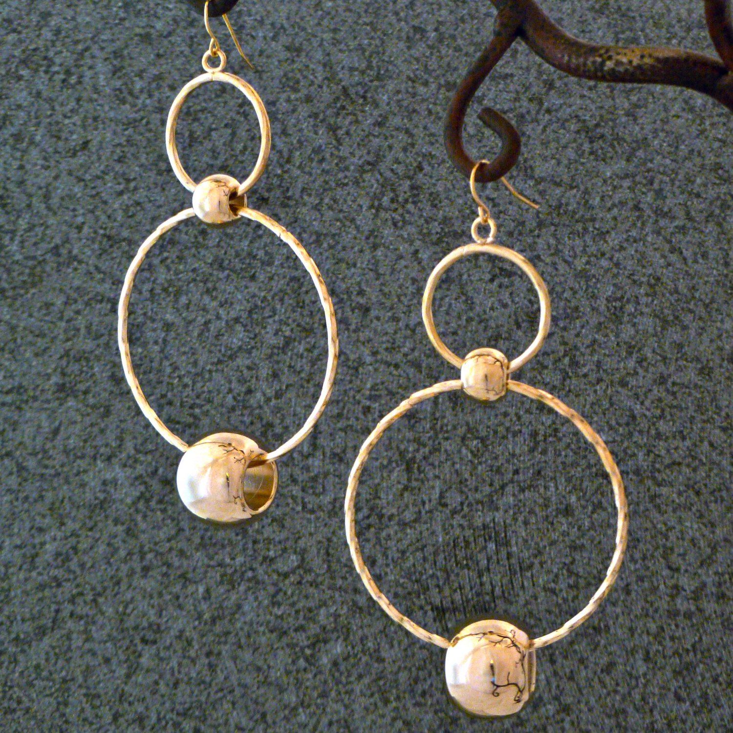 Polished Gold Double Circle Hoop & Ball Dangle Fashion Earrings