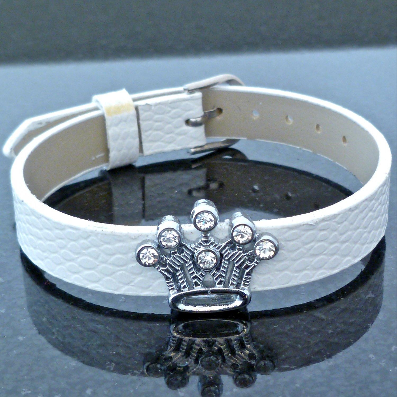 Crown Rhinestone Slide Charm White Belt Buckle Style Bracelet