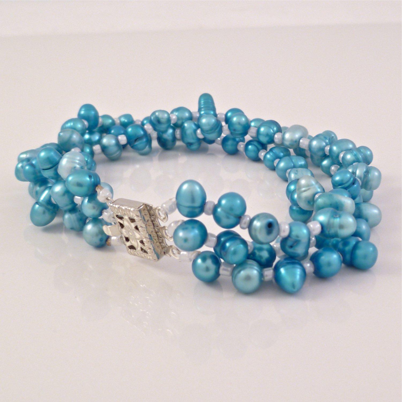 Turquoise Freshwater Pearl Triple Strand Bracelet Filigree Boxed Clasp