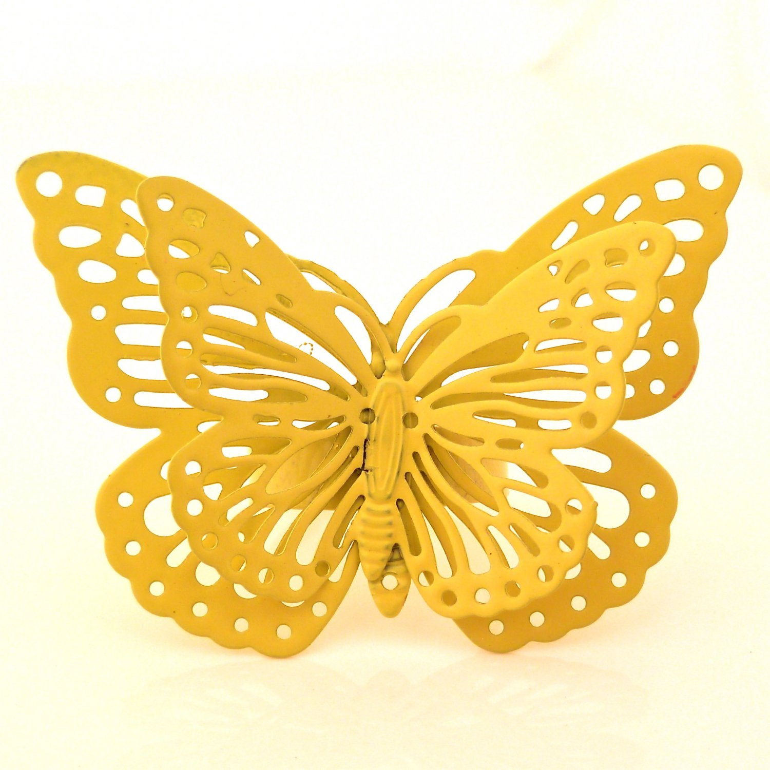 Whimsical Enchanted Butterfly Ring - Yellow