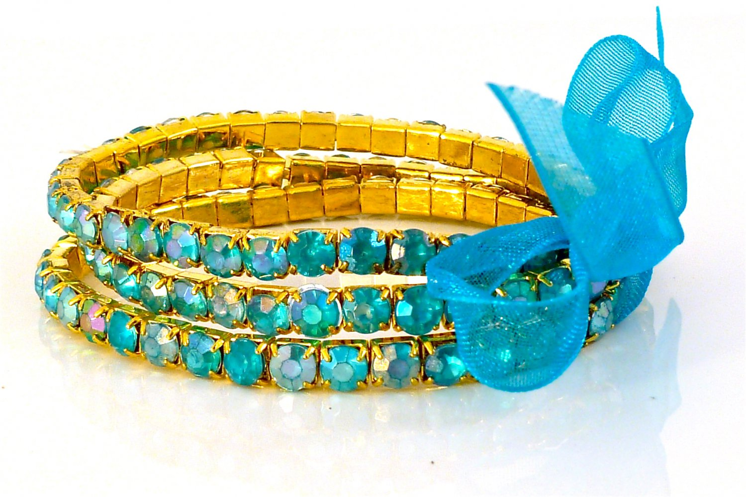 Pacific Opal Crystal Stretch Yellow Gold Plated Rhinestone Bracelets