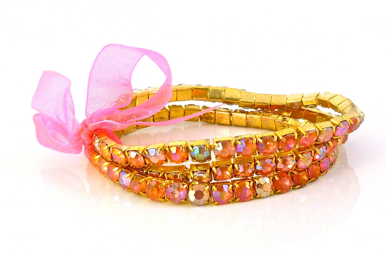 Rose Crystal Stretch Yellow Gold Plated Rhinestone Bracelets