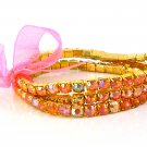 Rose Crystal Stretch Yellow Gold Plated Rhinestone Bracelets
