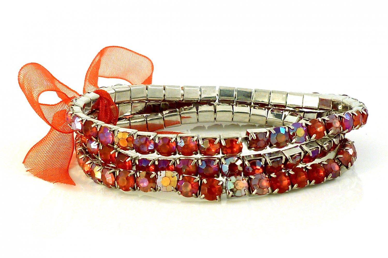 Siam Red Crystal Stretch White Gold Plated Rhinestone Bracelets