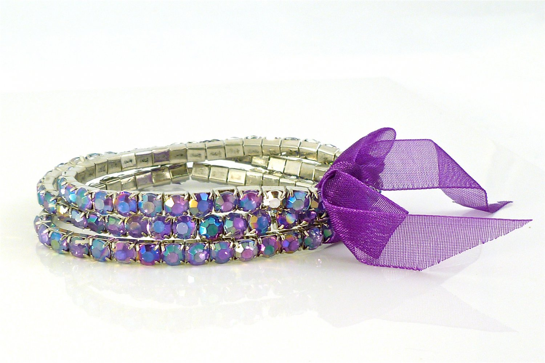 Lilac Crystal Stretch White Gold Plated Rhinestone Bracelets