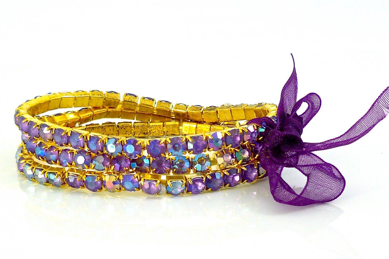 Lilac Crystal Stretch Yellow Gold Plated Rhinestone Bracelets