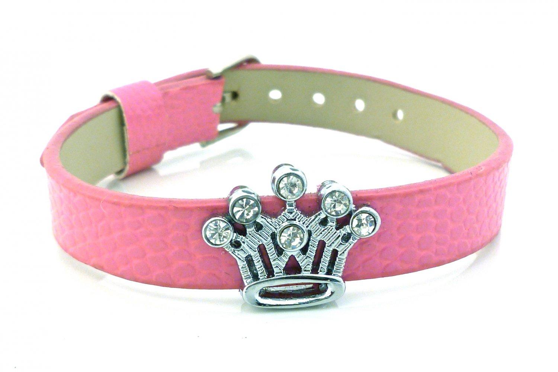 Rhinestone Crystal Crown Slide Charm Bracelet - Hot Pink