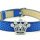 Rhinestone Crystal Crown Slide Charm Bracelet - Light Navy Blue