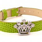 Rhinestone Crystal Crown Slide Charm Bracelet - Moss Green