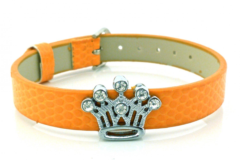 Pumpkin Orange Rhinestone Crystal Crown Slide Charm Bracelet