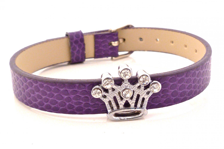 Crown Rhinestone Slide Charm Purple Plum Belt Buckle Style Bracelet