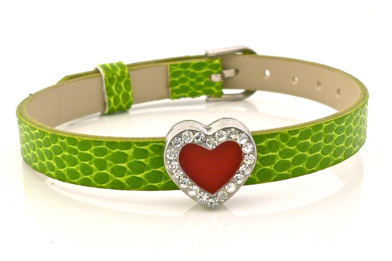 Rhinestone Crystal Heart Slide Charm Bracelet - Green