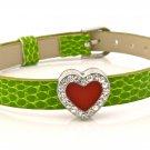 Heart Rhinestone Belt Buckle Style Slide Charm Bracelet - Moss Green