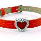 Rhinestone Crystal Heart Belt Buckle Style Slide Charm Bracelet - Bright Red