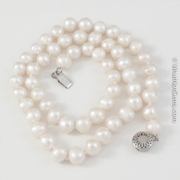 White Natural Freshwater Pearl Necklace, Princess Length, Double Knotted 7mm