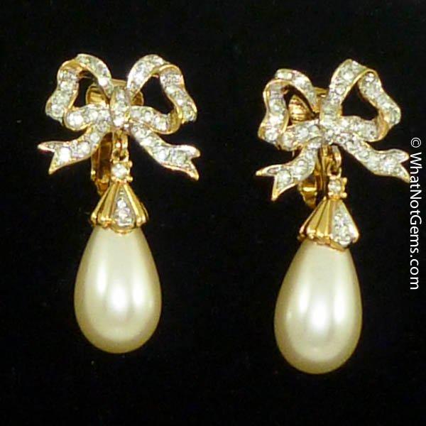 Majorica's Mikimi Pearl Teardrop Bow Clip Earrings